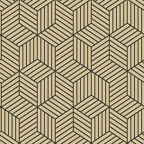 Stripped Hexagon Gold/Black Peel & Stick Wallpaper