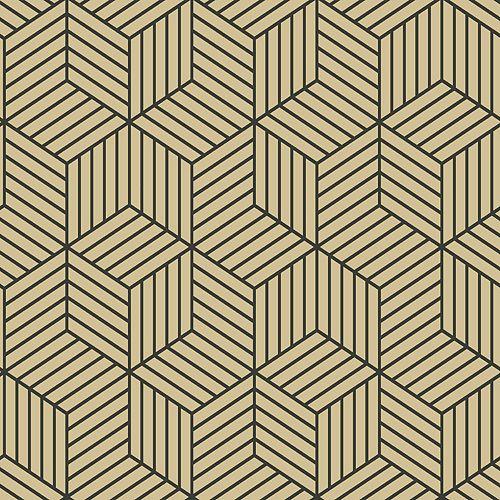papier peint adhésif rayure hexagone or/noir