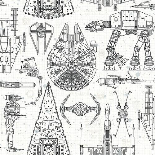 papier peint adhésif Star Wars bleu