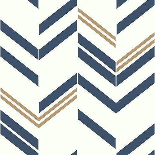 papier peint adhésif chevron bleu