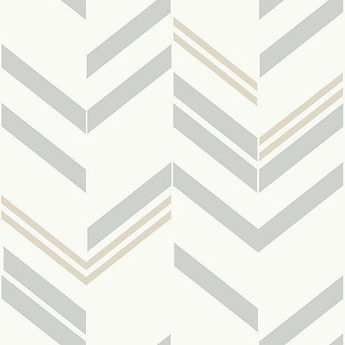 Grey Chevron Stripe Peel & Stick Wallpaper