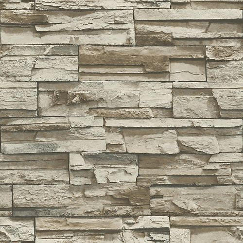 Grey/Brown Stacked Stone Peel and Stick Wallpaper