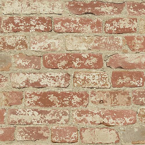 Stuccoed Red Brick Peel and Stick Wallpaper
