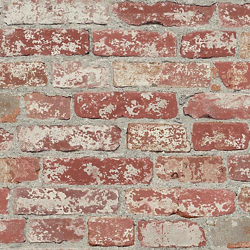 Stuccoed Dark Red Brick Peel and Stick Wallpaper