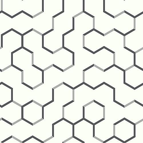 Black Open Geometric Peel & Stick Wallpaper