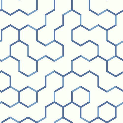 papier peint adhésif geométrique ouvert bleu