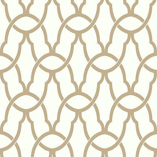 papier peint adhésif treillage or