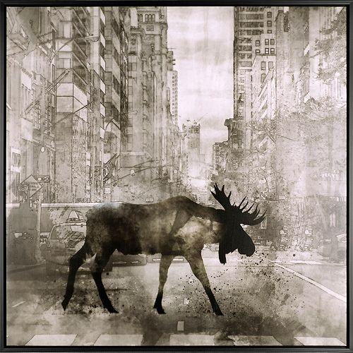 Walking Moose, Floral Art, Acrylic on Canvas Art