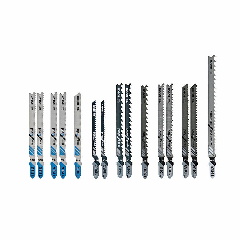 Bosch 15 pc. T-Shank Wood and Metal Cutting Jig Saw Blade Set