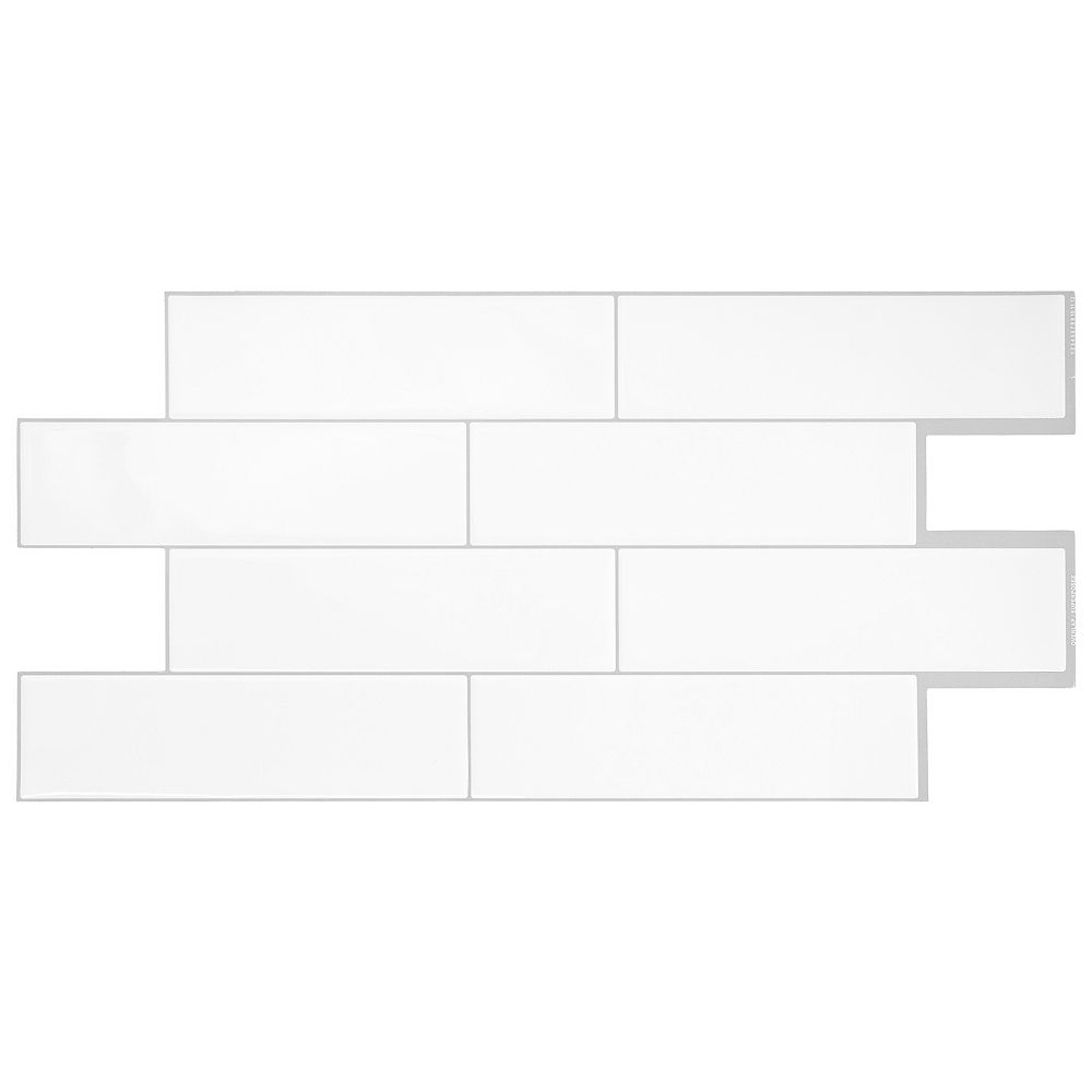 Smart Tiles Oslo White 22.56-inch W x 10.88-inch H White Peel and Stick Decorative Wall Tile ( 2-Pack)