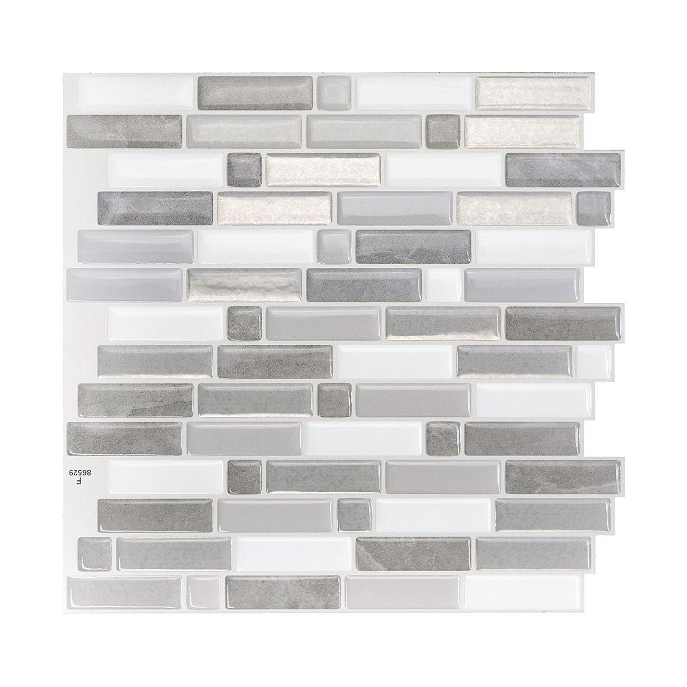 Smart Tiles Tuiles décoratives Peel and Stick pour murs, 9,73 po x 9,36 po, Crescendo Agati, gris, ens. de 4