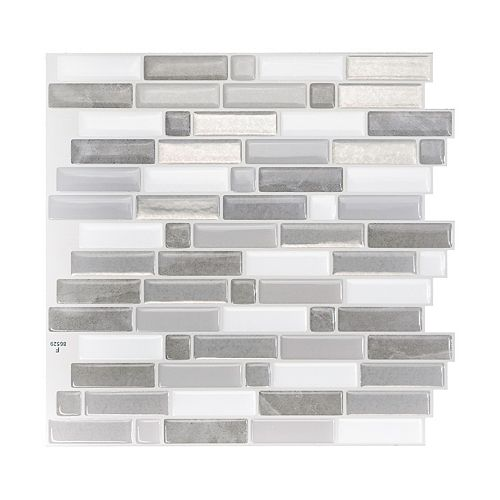 Crescendo Agati 9.73-inch W x 9.36-inch H Grey Peel and Stick Decorative Wall Tile (4-Pack)