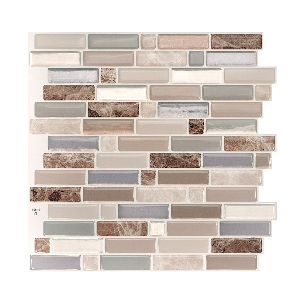 Smart Tiles Crescendo Terra 9.73-inch W x 9.36-inch H Brown and Beige Peel and Stick Decorative Wall Tile (4-Pack)