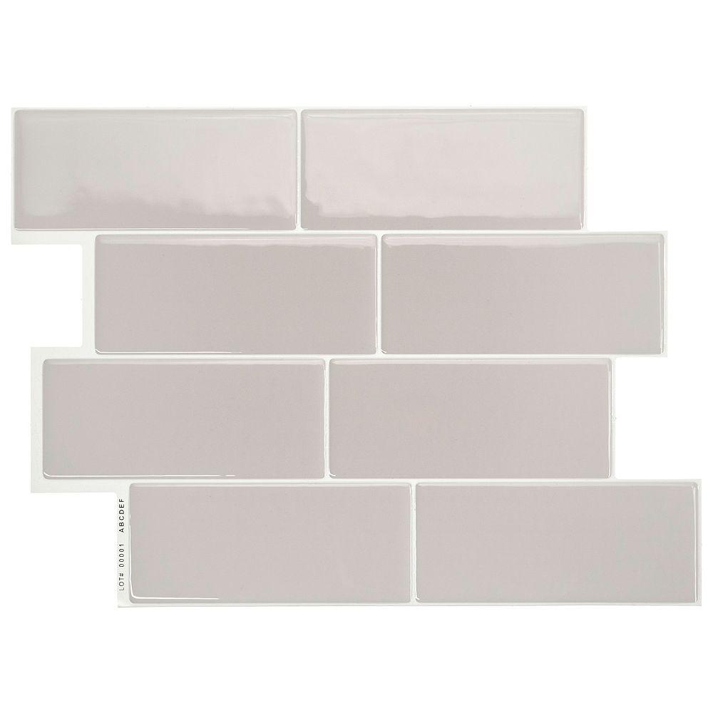 Peel and stick backsplash Metro Cassandra tiles, Ceramic look, 9.9in. x  9.39in., Grey, 9 pack