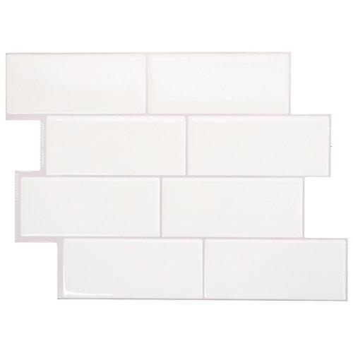 Tuiles décoratives Peel and Stick pour murs, 11,55 po x 8,38 po, Metro Campagnola, blanc, ens. de 4
