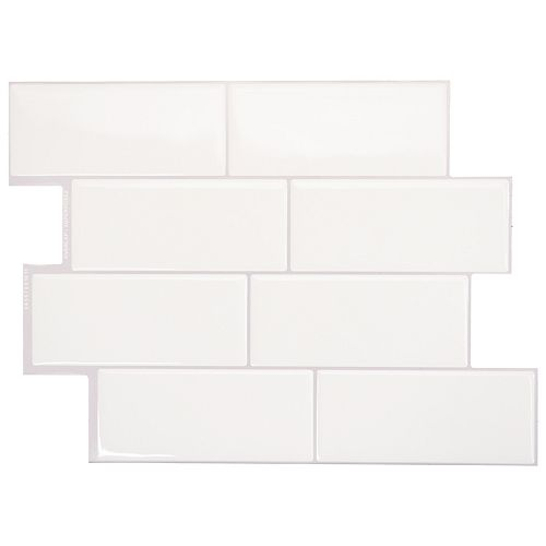 Tuiles décoratives Peel and Stick pour murs, 11,55 po x 8,38 po, Metro Campagnola, blanc, ens. de 4