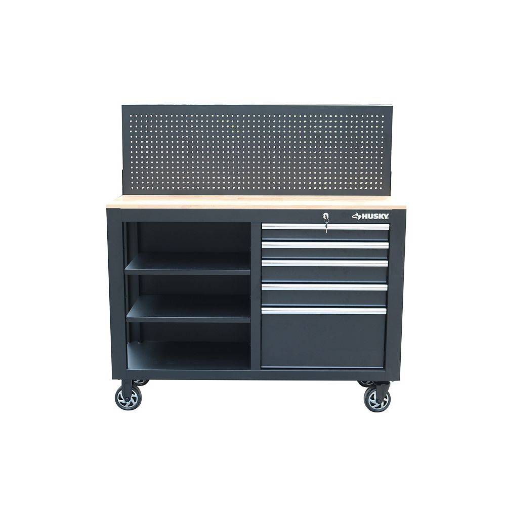 Husky 52-inch 5-Drawer Mobile Workbench with Wood Top and Pegboard in Black