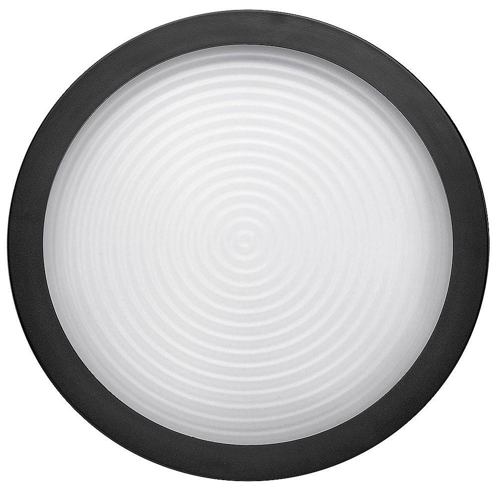 Commercial Electric Spin Light 7-inch Matte Black LED Flush Mount Ceiling Light 830 Lumens Modern Flat Diffuser Lens 4000K Bright White