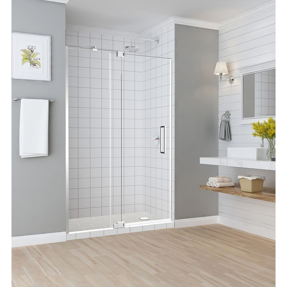 Aston Madox 48 inch to 54 inch x 74.875 inch Frameless Pivot Shower Door in Chrome