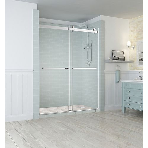 Aston Rivage 56 inch to 60 inch x 76 inch Frameless Double-Bypass Sliding Shower Door in Chrome