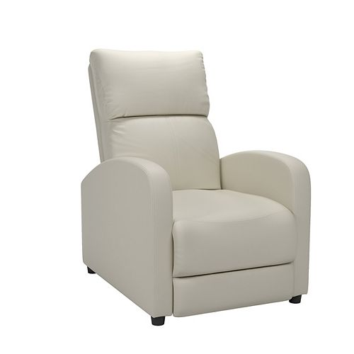 Corliving Moor White Bonded Leather Recliner