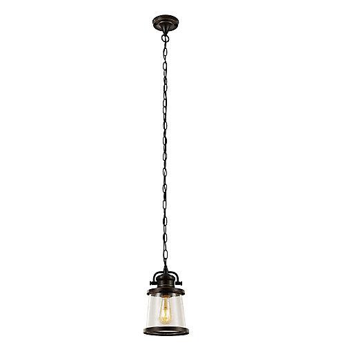 Pendentif extérieur à 1 lumière en bronze huilé, collection Charlie, ampoule DEL Vintage Edison