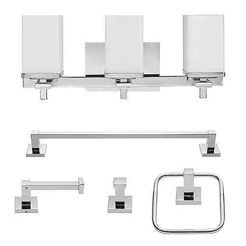 Finn 5-Piece Chrome All-In-One Bath Set with Vanity Light