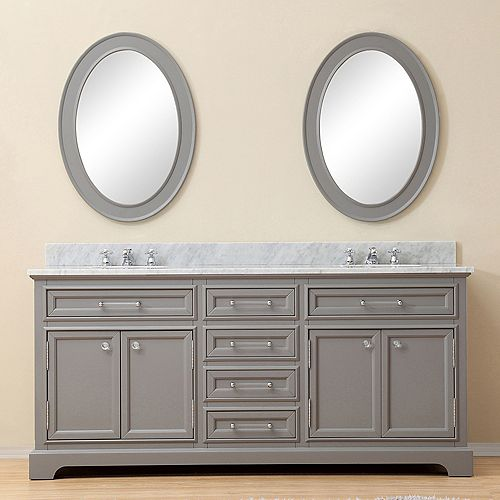 Derby 72-inch W Vanity in Cashmere Grey with Marble Top in Carrara White