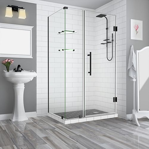 Bromley GS 35.25 - 36.25 x 36.375 x 72 Frameless Hinged Shower Enclosure, Shelves, Oil Rubbed Bronze