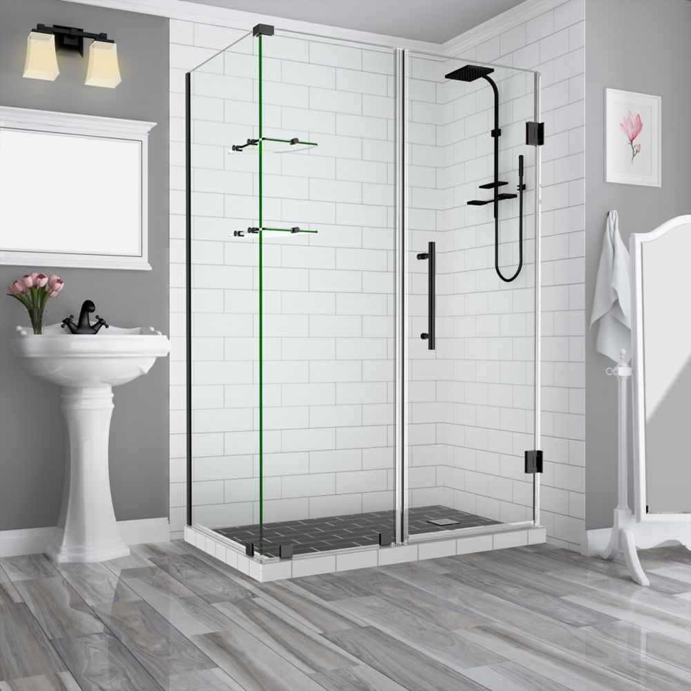 Bromley GS 54.25 - 55.25 x 34.375 x 72 Frameless Hinged Shower Enclosure, Shelves, Oil Rubbed Bronze