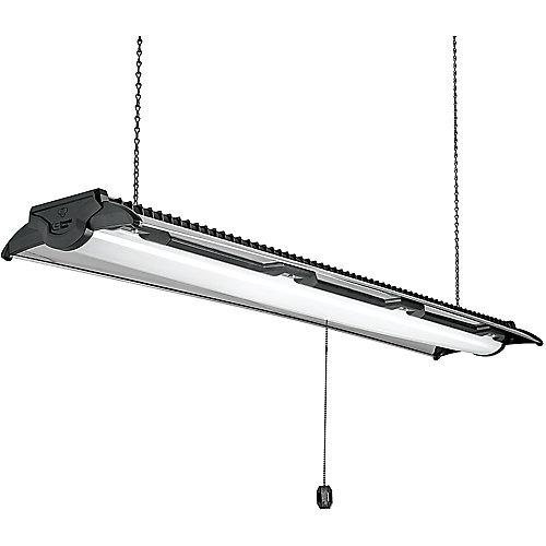 4 ft. Black and Brushed Nickel LED Shop Light Linkable 5500 Lumens High Output 4000K Bright White