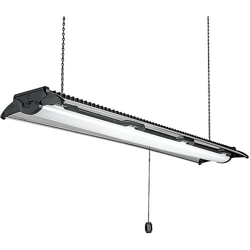 Commercial Electric Lampe d'atelier à DEL 122 cm, noire/nickel brossé, Interconnexion 5500 lm 4000k blanc brillant H.I.
