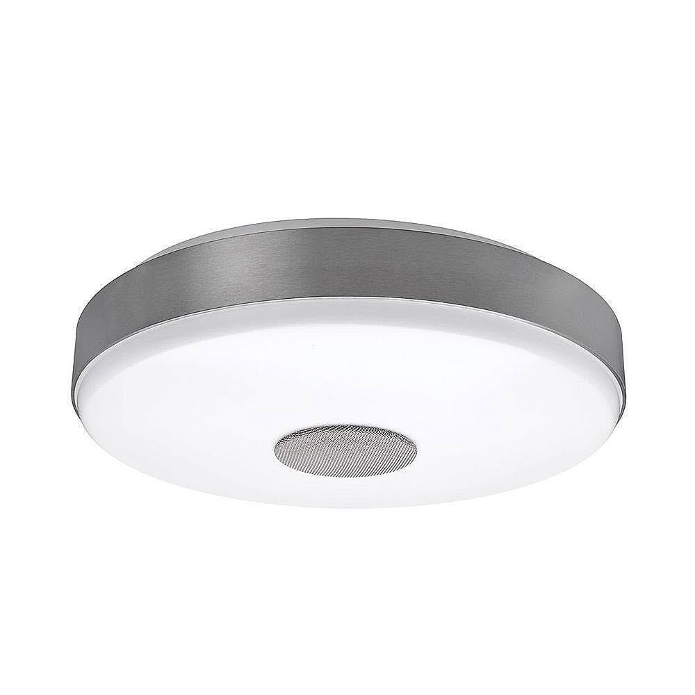Commercial Electric 15-inch Round Brushed Nickel Selectable LED Flush Mount Ceiling Light with Bluetooth Speaker 3000K 4000K 5000K Dimmable