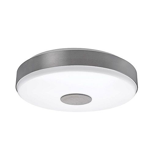 Commercial Electric Plafonnier à DEL rond Smart Home 38 cm, garniture nickel brossé, haut-parleur Bluetooth