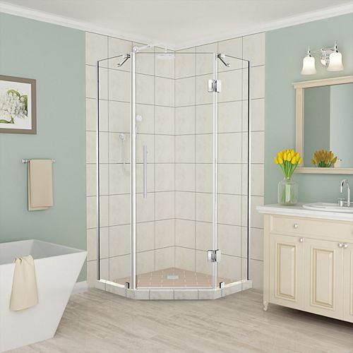 Aston Merrick 38 inch to 38.5 inch x 72 inch Frameless Neo-Angle Shower Enclosure in Stainless Steel