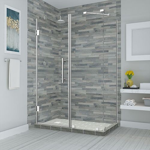 Aston Bromley 48.25 - 49.25 inch x 34.375 inch x 72 inch Frameless Hinged Shower Enclosure, Chrome