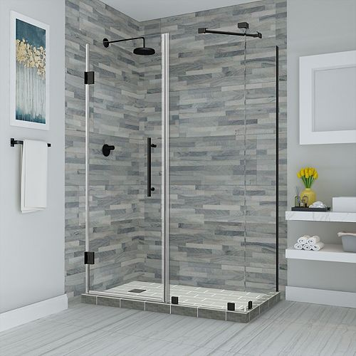 Aston Bromley 53.25 - 54.25 inch X30.375 inch X72 inch Frameless Hinged Shower Enclosure, Oil Rubbed Bronze