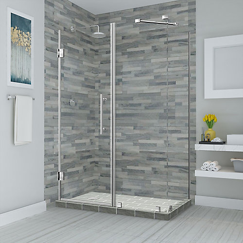 Bromley 63.25 - 64.25 inch X36.375 inch X72 inch Frameless Hinged Shower Enclosure, Stainless Steel