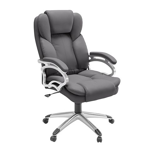 Workspace Executive Office Chair in Steel Grey Leatherette