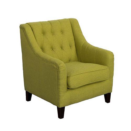 Dana Diamond Tufted Accent Chair in Green Linen Fabric