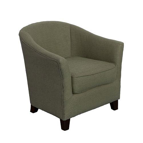 Shirley Contemporary Tub Chair in Greenish-Grey Linen Fabric