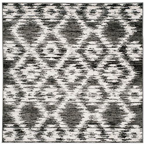 Tapis d'intérieur carré, 4 pi x 4 pi, Adirondack Sheryl, gris charbon / ivoire
