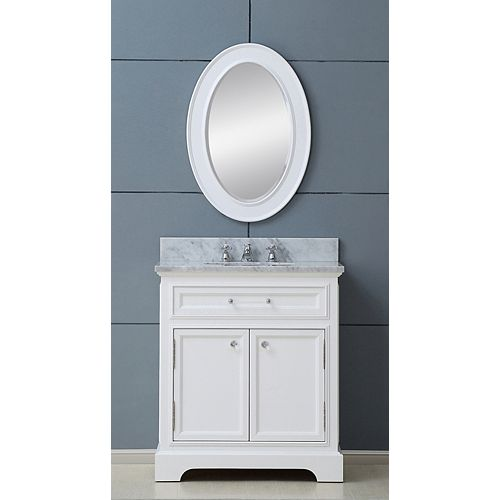 Derby 30-inch W Vanity in White with Marble Top in Carrara White