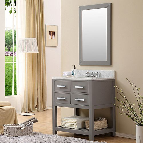 Madalyn 30-inch W Vanity in Gray with Marble Top in Carrara White