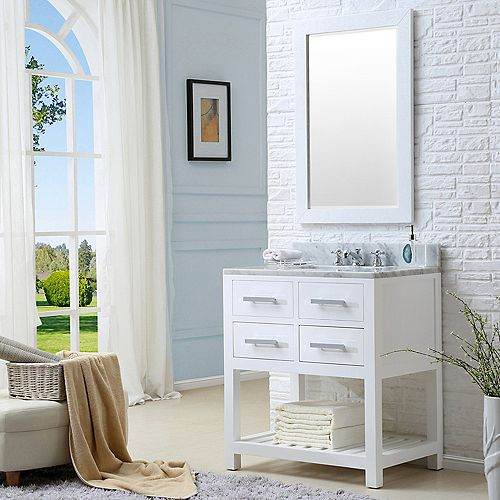 Madalyn 30-inch W Vanity in White with Marble Top in Carrara White
