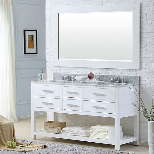 Madalyn 60-inch W Vanity in White with Marble Top in Carrara White