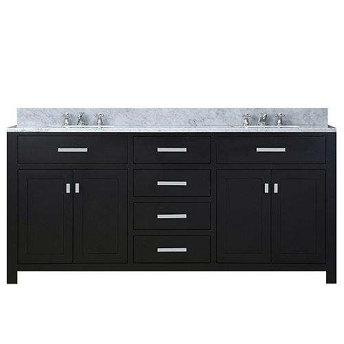 Madison 72-inch W Vanity in Espresso with Marble Top in Carrara White