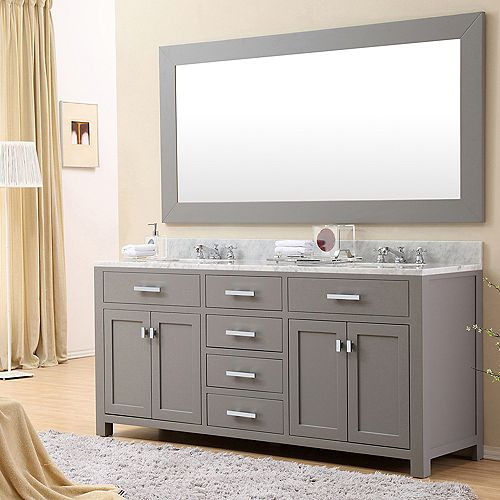 Madison 72-inch W Vanity in Gray with Marble Top in Carrara White