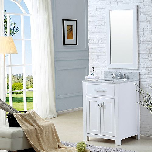 Madison 24-inch W Vanity in White with Marble Top in Carrara White