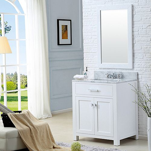 Madison 30-inch W Vanity in White with Marble Top in Carrara White